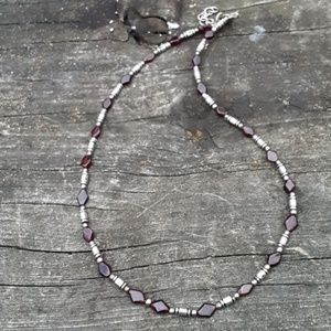 Red and silver unisex necklace